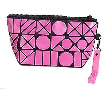 STRIPES Pink/Black Color Cosmetic Bag PVC Geometric Design Toiletries Make up Pouch Organizer Hand bag Travel Kit