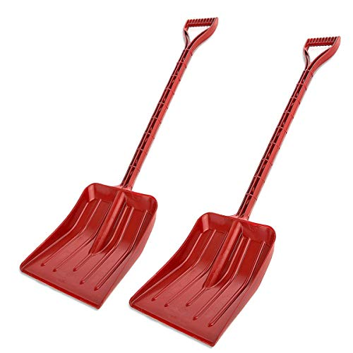 Rocky Mountain Goods Kids Snow Shovel - Perfect Sized Snow Shovel for Kids Age 3 to 12 - Safer Than Metal Snow Shovels - Extra Strength Single Piece Plastic Bend Proof Design (2, Red)