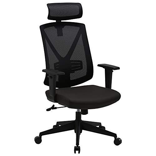BASETBL Bürostuhl Ergonomisch, Schreibtischstuhl aus Mesh mit Hoher Rückenlehne, Verstellbare Kopfstützenarme und Lendenwirbelstütze, Computer Drehstuhl mit Leisen Rädern-150 kg Tragfähigkeit
