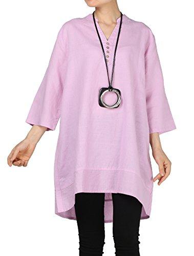 Mordenmiss Women's Cotton Linen Blouse V-Neck Tunic Tops 3/4 Sleeve Shirt Clothing 2XL Light Purple