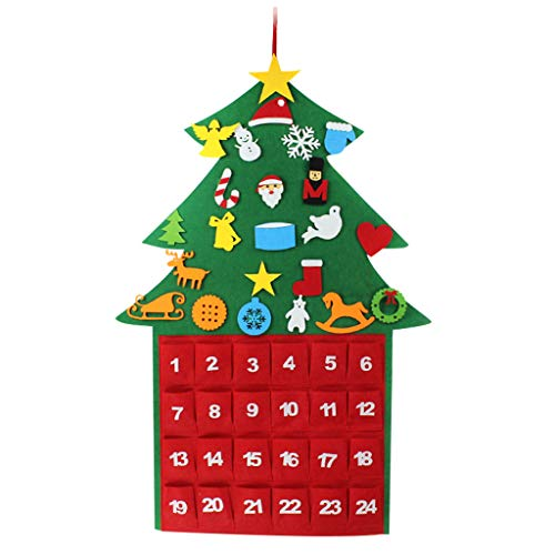 Countdown to Christmas Advent Calendar, Bambus Countdown to Christmas Calendar 2020 Felt Fabric Tree Shape Advent Calendar with 24 Storage Drawers, 39.3'' x 26.3'' (A)