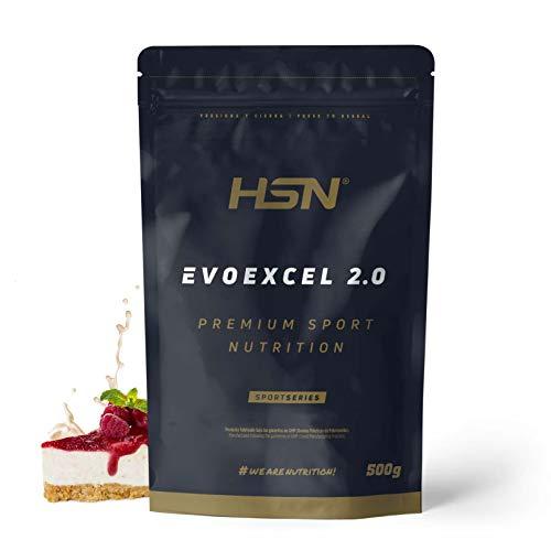 Whey Protein Isolate + Whey Protein Concentrate de HSN Evoexcel 2.0 | Batido de Proteínas para Ganar Masa Muscular, Recuperar, Perder Grasa | Vegetariano, Sabor Tarta de Queso Frutas del Bosque, 500g