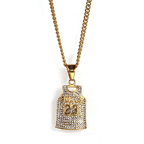 WYHCJJ Colgante Collar joyería Collar de Hombre de Moda con Diamantes de imitación Bull Jordan Colgante de Acero de Titanio Collar de Hip Hop Regalo de cumpleaños de Navidad