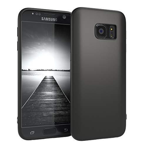 EAZY CASE Handyhülle Silikon mit Kameraschutz Samsung Galaxy S7 in schwarz matt, Ultra dünn, Slimcover, Silikonhülle, Hülle, Softcase, Backcover