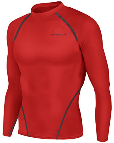 New Men Sports Apparel Long Sleeves Shirts Skin Tights Compression Base Under Layer Top (2XL, NT010 RED)