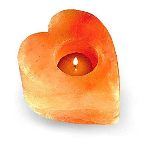 Himalayan Crystal Salt Tea Light Holder - Heart Shape - Glowing Air...