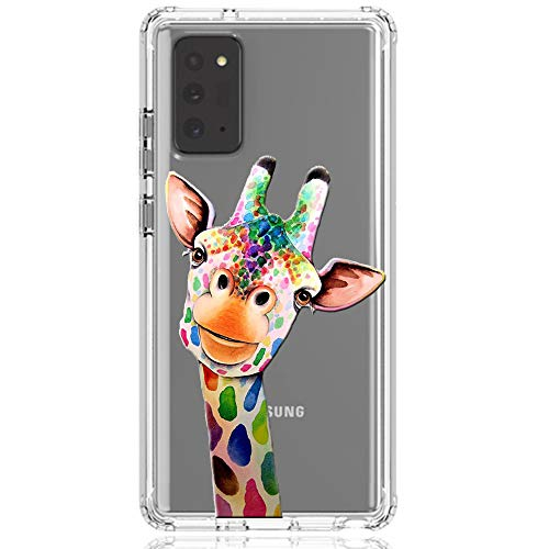 HUIYCUU Compatible with Galaxy Note 20 Case, Shockproof Anti-Slip Cute Rose Animal Print Clear Design Pattern Funny Slim Crystal Soft Bumper Girl Women Cover Case for Samsung Galaxy Note 20, Giraffe