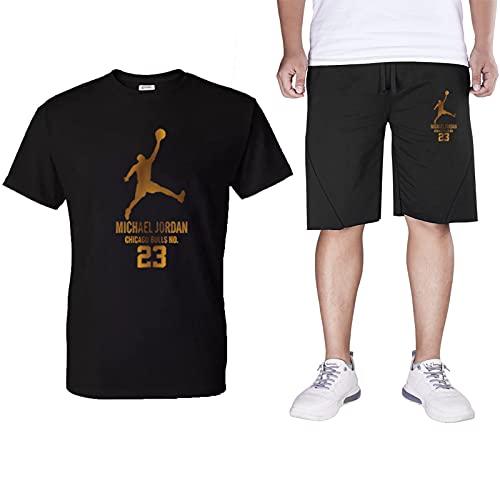 HXHU Chandal Completo Corto Hombre,Jordan Camisetas Manga Corta Algodón Pantalone Deporte,Ropa Deportiva Top+Cortos Pantalone 2 Piezas Black-M