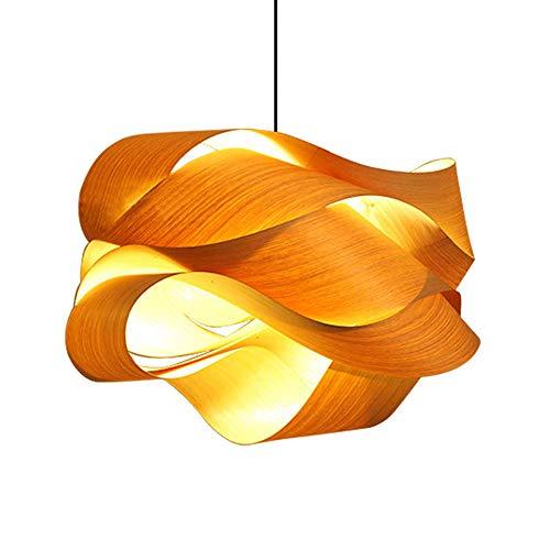 Kronleuchter Einfache Holzfurnier Lampe Wave Curve Hängeleuchte Handgefertigt Natürliche Eiche Deckenbeleuchtung E27 für Wohnzimmer Schlafzimmer Flur, 60cm