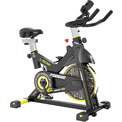 indoor cycles pooboo Indoor Cycling Bike, Belt Drive Indoor Exercise Bike,Stationary Bike LCD Display for Home Cardio Workout Bike Training