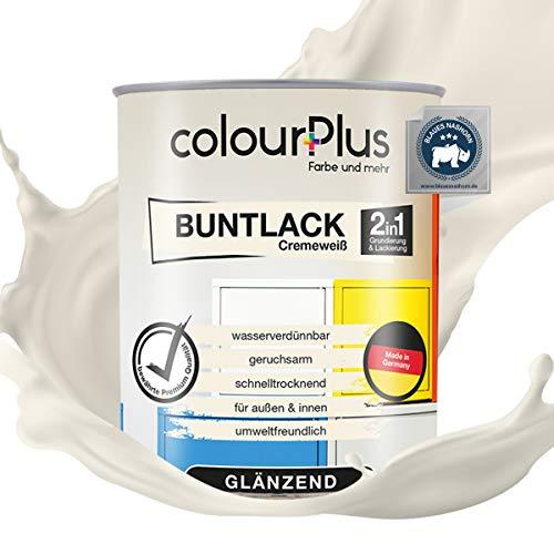 colourPlus® 2in1 Buntlack (750ml, RAL 9001 Cremeweiß) glänzender Acryllack - Lack für Kinderspielzeug - Farbe für Holz - Holzfarbe Innen - Made in Germany