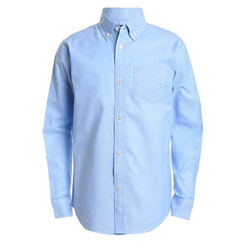 IZOD Boys' Toddler Long Sleeve Solid Button-Down Oxford Shirt, ox Blue, 4T/4