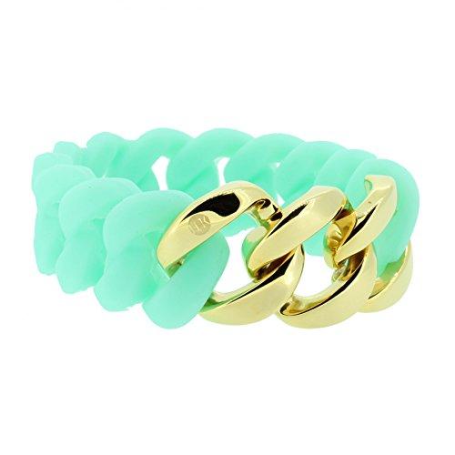 Hanse-Klunker Armband Damen ORIGINAL Silikon Türkis, Edelstahl Gold Armreif Armkette Frauen Mädchen Größe 18-19 cm inkl. Schmuck-Geschenk-Box