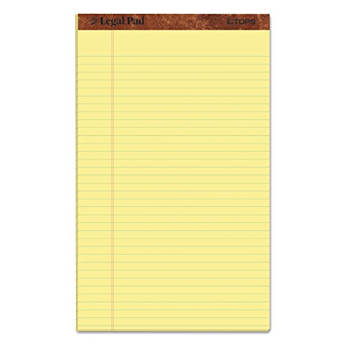 "TOPS The Legal Pad Writing Pads, 8-1/2"" x 14"", Canary Paper, Legal Rule, 50 Sheets, 12 Pack (7572)"