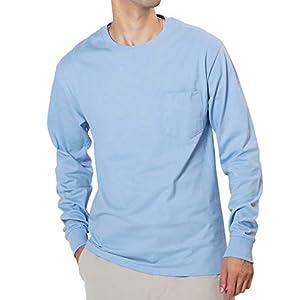Hanes(ヘインズ) ポケット付き ロングスリーブ Tシャツ メンズ 長袖 ロンT コットン100% M ライトブルー