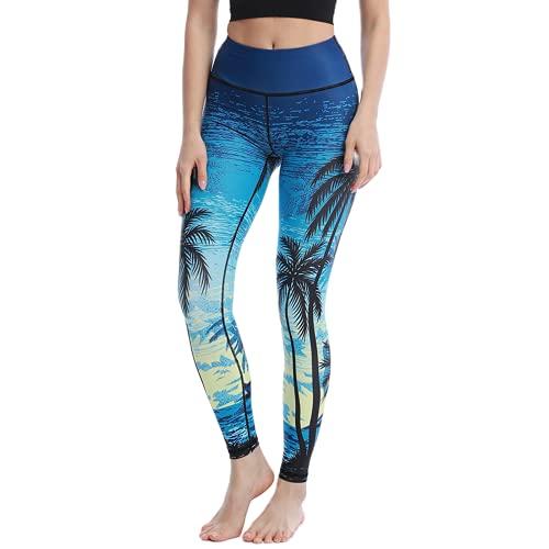 QTJY Pantalones de Fitness con patrón de Gato Lindo, Pantalones de Yoga Coloridos para Mujer, Cintura Alta, Ajustados, elásticos, melocotón, Cadera, Pantalones de Yoga D M