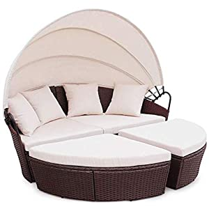 EVRE Luxury Rattan Garden Daybed with Canopy Mixed Brown