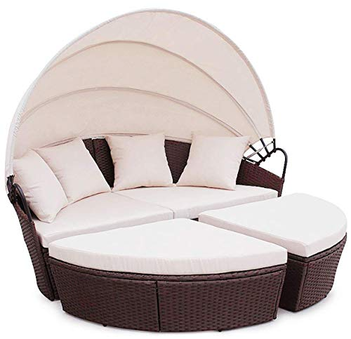 Evre Bali Day Bed Outdoor Garden Furniture Set With Canopy Mixed Brown