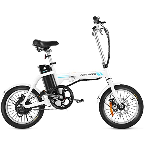 ANCHEER Folding Electric Bike, 16'' Electric Commuter Bicycles with 8Ah Removable Battery with 15-30 Mile Range, 3-Speed Power Assist City Ebike