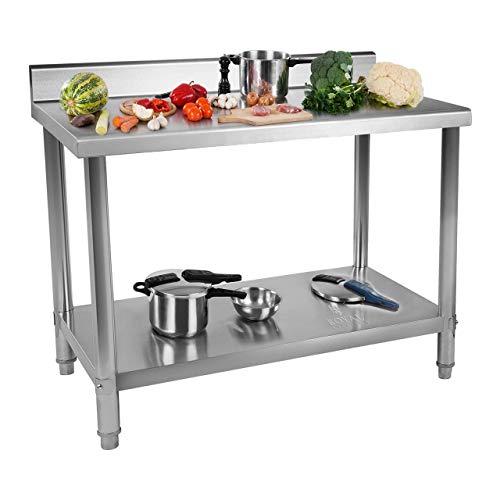 Royal Catering Table De Travail Adossée Cuisine Plan Professionnel Table Préparation Confection Boucher Avec Tablette Étagère RCWT-120X60EB (120x60cm, Capacité 110 kg, 2 Niveaux, Dosseret 12 cm, Inox)