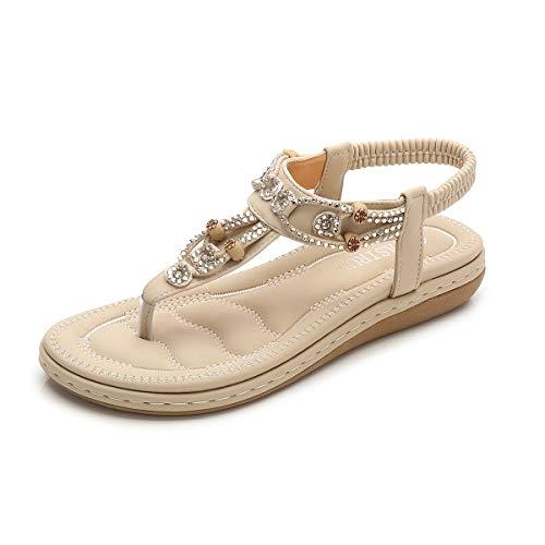ZOEREA Sandalias Planas para Mujer Verano Bohemia Moda Comodidad Elegante Correa Tobillo Elástica Chanclas Punta Abierta Damas Zapatos Casuales
