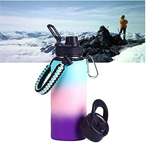 HJKLL Botella de Agua Deportiva de Acero Inoxidable, Termo Al VacíO De Doble Pared con Tapa De Paja Y Pico,Sweat-Proof Leakproof Travel Mug Jug B