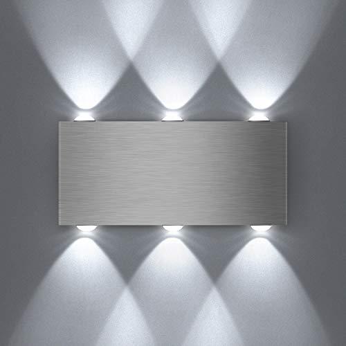 Unimall 6W LED Wandleuchte innen aus Hochwertige Aluminum mit schönem Lichteffekt Silber Kaltweiß [Energieklasse A+]