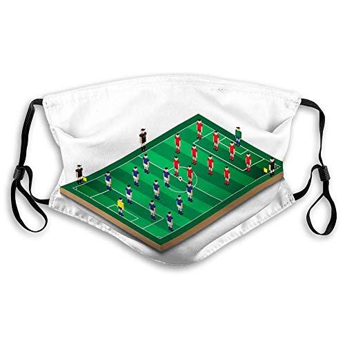 NA Mundmaske Gesichtsbedeckung Wiederverwendbare Außenmasken Fußball Fußball Formation Green Field Team mi