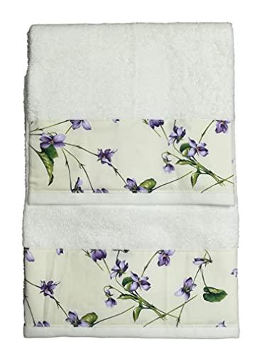 Ricami Fiorentini - Juego de 2 toallas de rizo de algodón 100% con volante de algodón (flor morada)