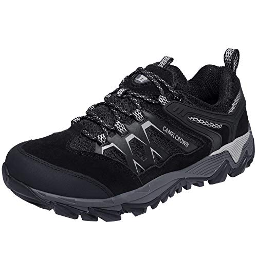 CAMEL CROWN Hiking Shoes Men Breathable Non-Slip Sneakers Lightweight Low Top for Outdoor Trailing Trekking Walking Black