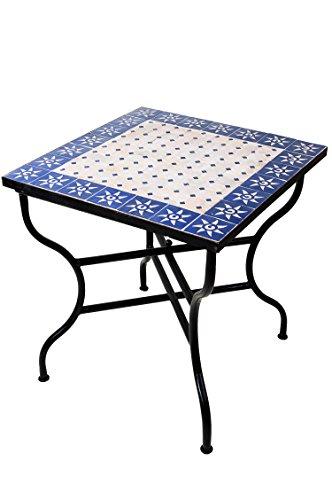 ORIGINAL Marokkanischer Mosaiktisch Gartentisch 70x70cm Groß eckig klappbar | Eckiger klappbarer Mosaik Esstisch Mediterran | als Klapptisch für Balkon oder Garten | Sonne Natur Blau 70x70cm