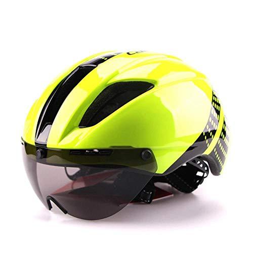 XYBB Casco Bicicleta Casco de Bicicleta de Carretera In-Mold Racing Ciclismo Bicicleta Deportes Casco de Seguridad Casco de Ciclismo de contrarreloj M54-57cm Amarillo Fluorescente