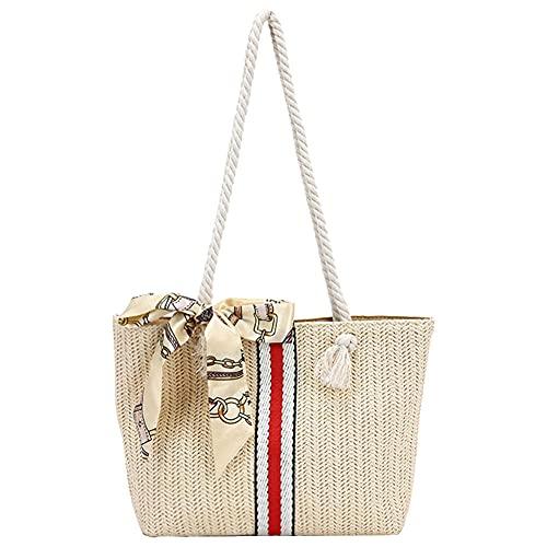 Bufanda de seda para mujer, bolso de compras de hombro de retales tejido de paja, bolsos de mano de gran capacidad para vacaciones en la playa de verano para mujer, 20x7x31cm-4