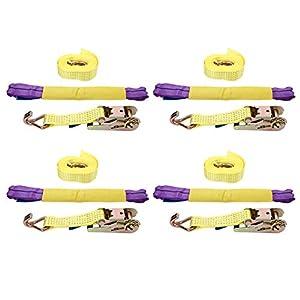 Ratchet Tie Down Straps, 4X Soft Loops 11023lb Break Strength, Galvanized Metal Handles