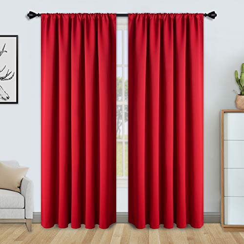 FLOWEROOM Blackout Curtains for Bedroom - Thermal Insulated, Energy Saving and Noise Reducing Rod Pocket Window Curtain Panels for Living Room, Red, 52 x 84 inch, 2 Panels