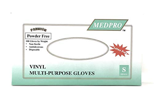 Medpro Vinyl Multi-Purpose Gloves, Latex Free, 100 Per Box (Small)