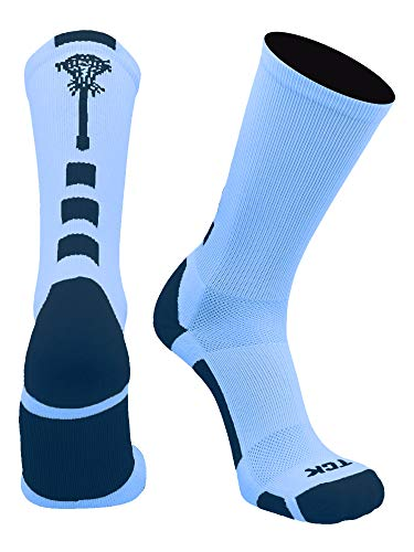 TCK Midline Lacrosse Logo Crew Socks (Columbia Blue/Navy, Medium)