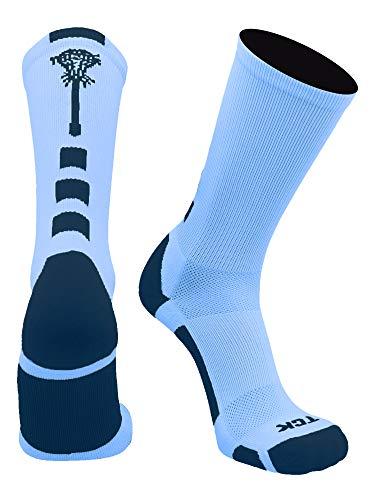 TCK Midline Lacrosse Logo Crew Socks (Columbia Blue/Navy, Small)