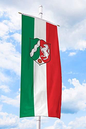 Deitert Bundesland-Flagge NRW – 80x200 cm NRW-Flagge mit Wappen (Dienstflagge), Bannerfahne aus reißfestem Polyester, NRW-Fahne mit Doppelsicherheitsnaht gesäumt