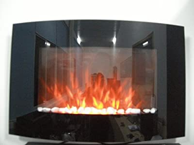 TruFlame 2020 Wall Mounted Arched Black Glass Electric Fire with Pebble Effect (88cm wide)