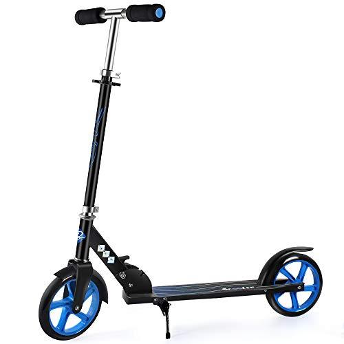 BELEEV Roller für Kinder, Tretroller Kick Scooter mit 2 Rädern, Schnellverschluss Klappbar System, 3 Höhenverstellbare, Große 200mm Räder Roller für Erwachsene und Jugendliche (Blau)