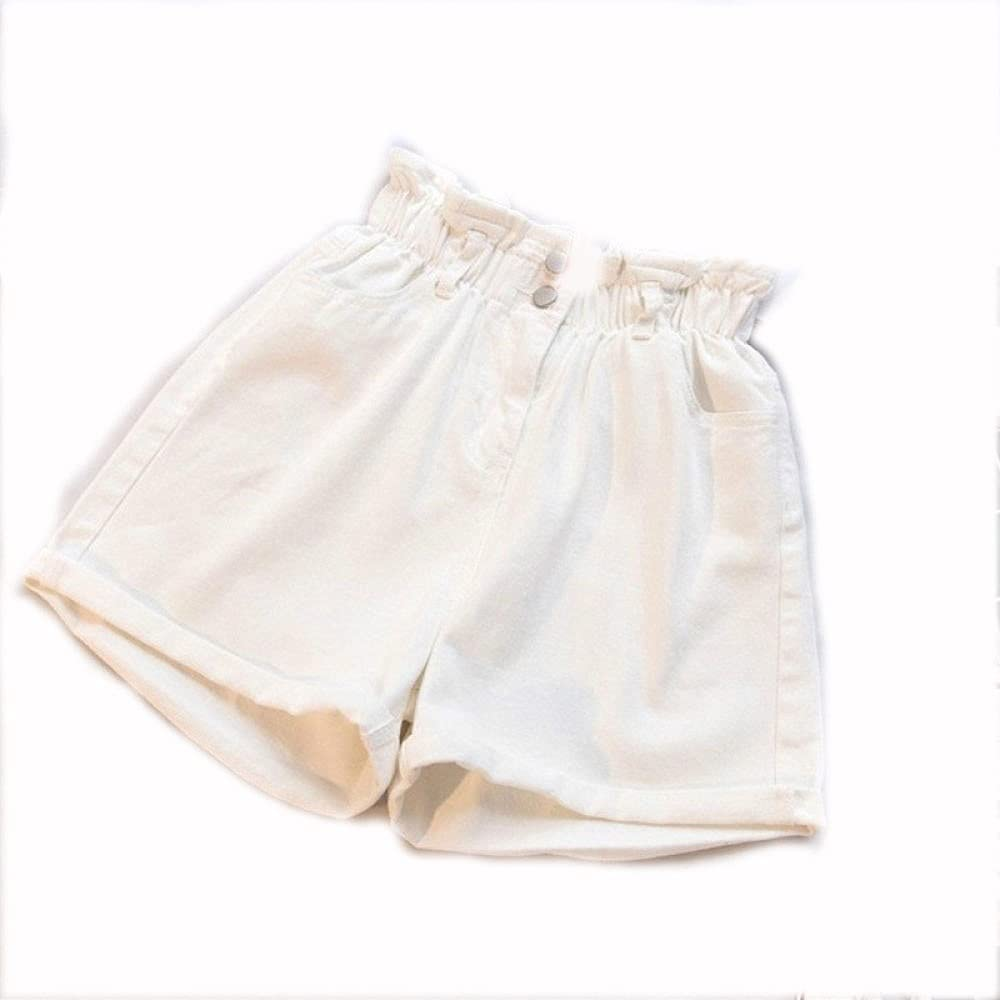 CDDKJDS Plus Size Summer Black Women S Denim Shorts Large Size 5XL Harem Ruffle White High Waisted Shorts Elastic Waist Jeans for Women (Color : White, Size : 4XL-Large)