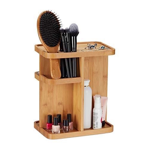 Relaxdays Make Up Bamboe, draaibare cosmetica-organizer voor badkamer & make-uptafel, HBT 31x25,5x18 cm, naturel, 18 x 25,5 x 31 cm