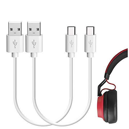 Geekria 2pcs Cable de Carga Corto para Jabra Move Style, Elite 65t, Elite Sport, Halo Smart, Elite 45e, 25e, Sport Pace/USB-A a Micro-USB Cable de Carga para Auriculares Jabra (1 pie)