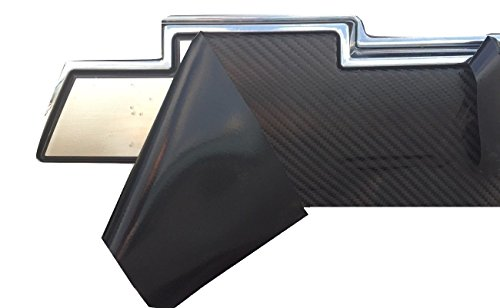 "Chevy Bowtie Emblem Overlay (3 Pack) Black 3M Carbon Fiber Cut-Your-Own Car Wrap Kit DIY GM Logo Easy to Install Air Release Film 12"" x 4"" Sheets (x3)"