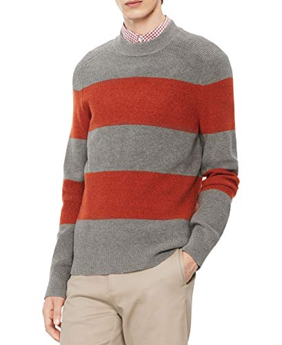 Calvin Klein Mens Mock Neck Striped Pullover Sweater, Grey, X-Large