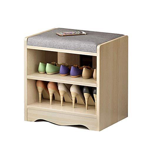 WY-YAN Shoe Rack MDF Mini Shoe Rack Shoe Bench With Lift Up Bench Top And Seat Cushion, Hallway Shoe Storage Bench Organizer (Color : Wood, Size : 40x43x30cm)
