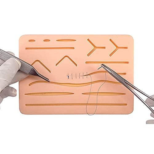 ZJM Wiederverwendbares Chirurgisches Nahtpolster, Silikon-Nahtpolster Mit 14 Vorgeschnittenen Wunden, Medizinisches Hautwunde-Naht-Übungsset Für Praxis Und Training