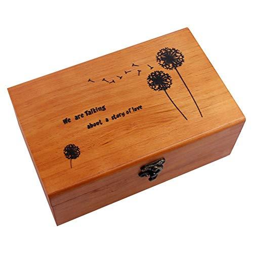 rethyrel Boîte avec Couvercle Coffret La Boîte en Bois De Coffre À Trésors Convient pour Ranger Le Fil À Aiguilles du Quotidien(Seulement boîte de Rangement, Pas d'accessoire)
