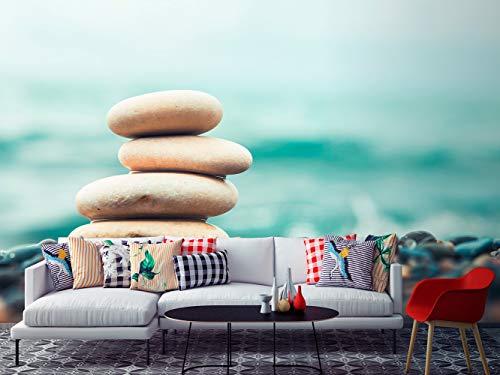 Oedim Fotomural Vinilo para Pared Piedras Zen | Fotomural para Paredes | Mural | Vinilo Decorativo | 200 x 150 cm | Decoración comedores, Salones, Habitaciones